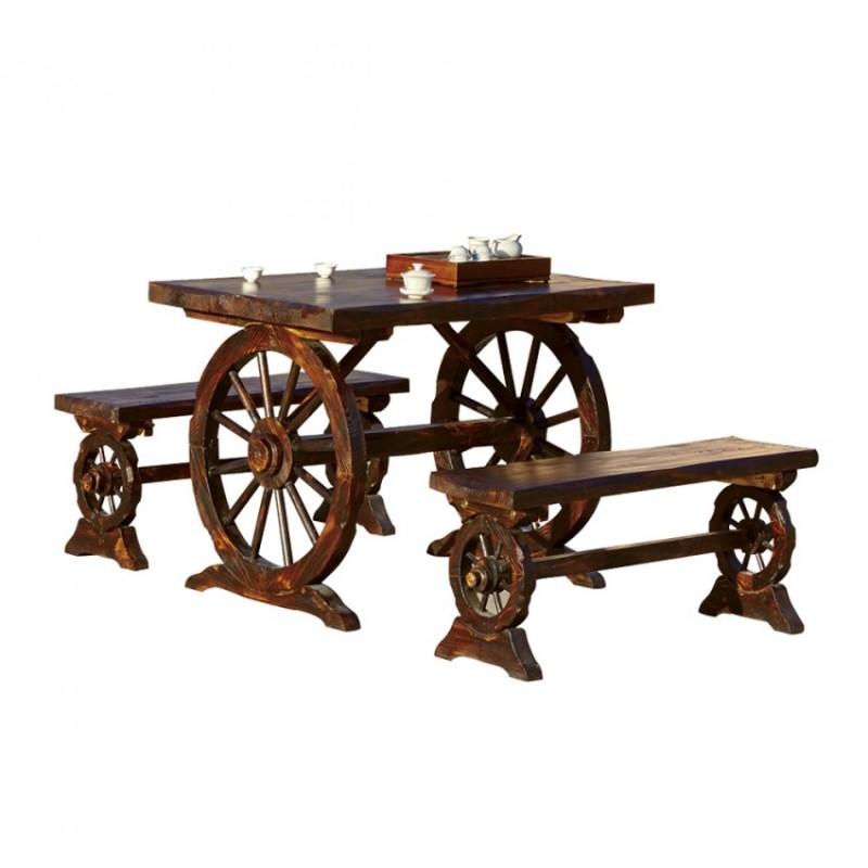 防腐木户外餐桌椅BLS-13无背车轮桌椅