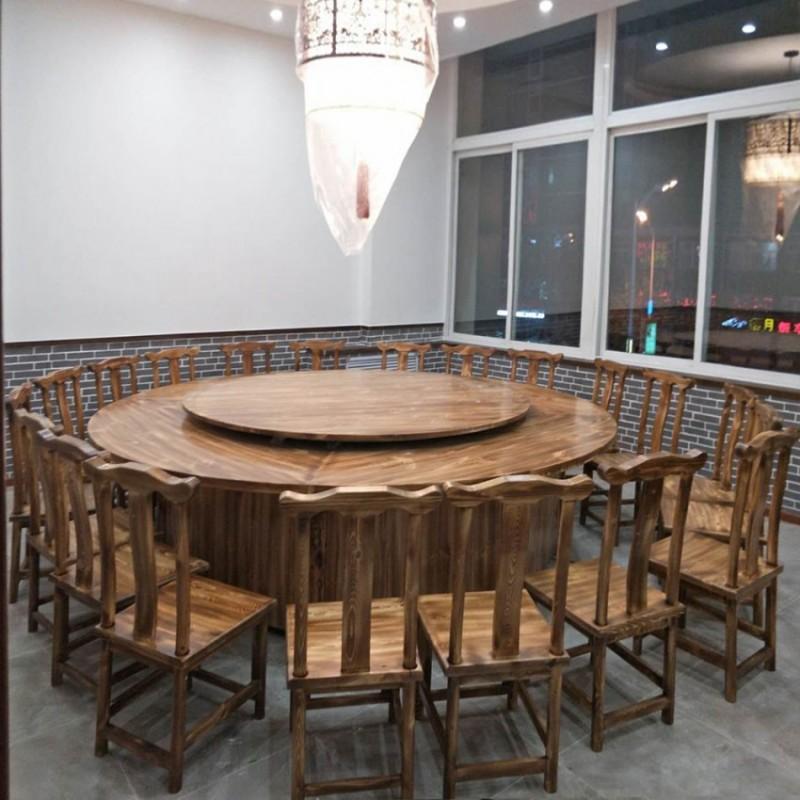 带转盘餐桌中式餐椅组合BLS-17
