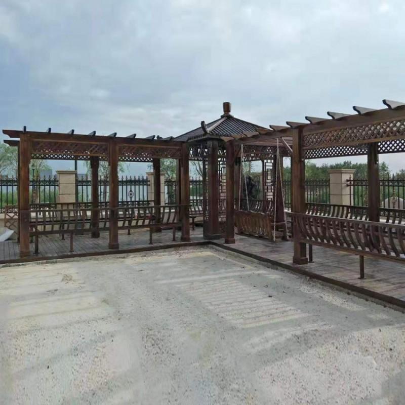 防腐木户外家具转角长廊LT-70