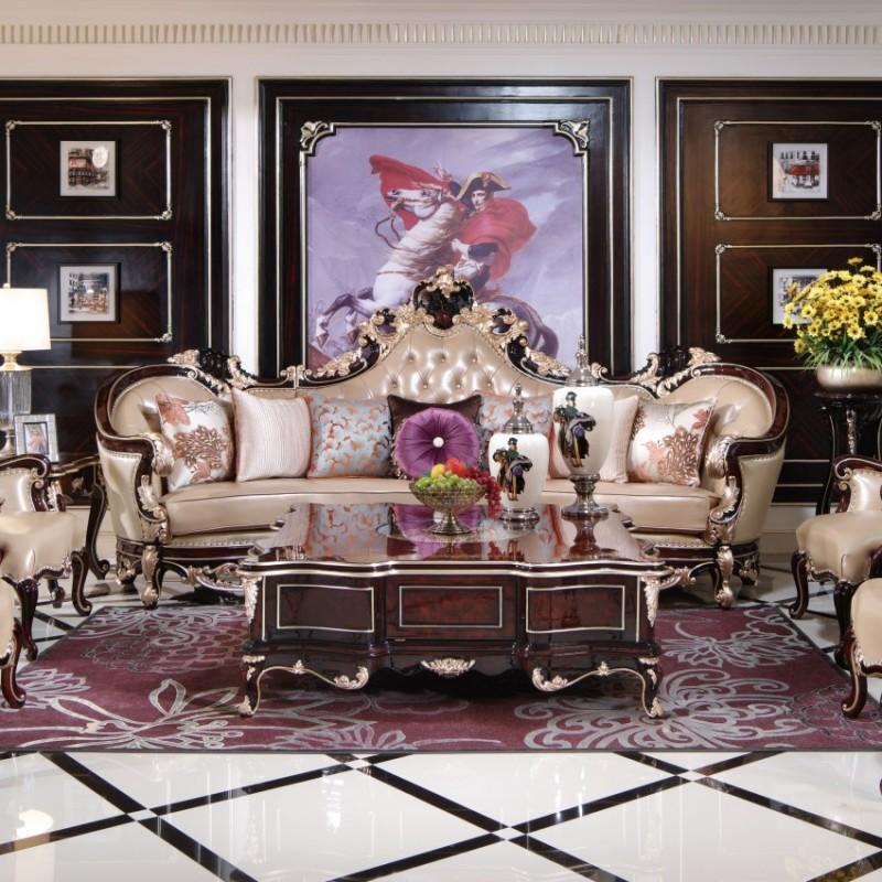 曼斯丹丽欧式家具客厅607沙发、601方角几、601(1.4米大方几)、8801-3花架、8801-3独脚圆茶几