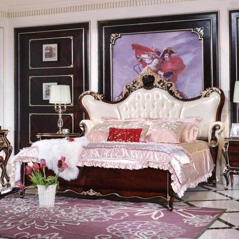 曼斯丹丽欧式家具卧室豪华古典雕花大床6607床头柜梳妆台妆凳