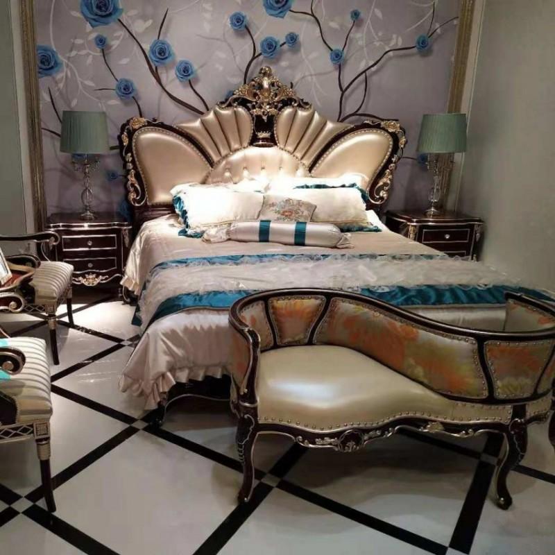 曼斯丹丽欧式家具卧室古典实木雕花大床-4
