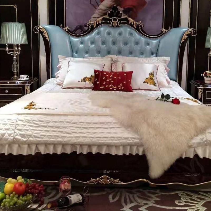 曼斯丹丽欧式家具卧室古典实木雕花大床-5