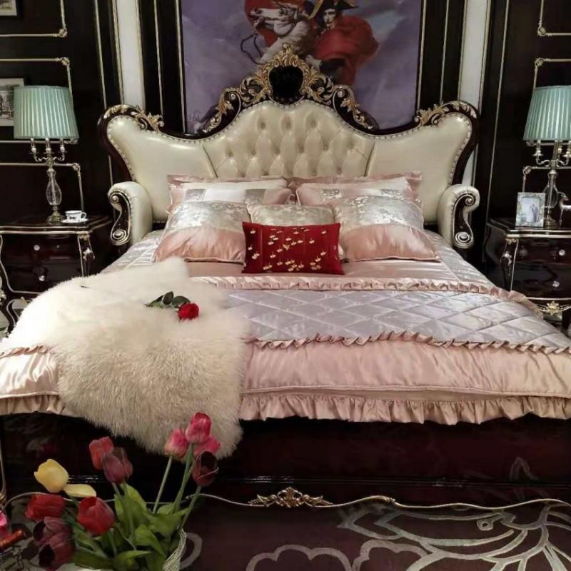 曼斯丹丽欧式家具卧室古典实木雕花大床-6