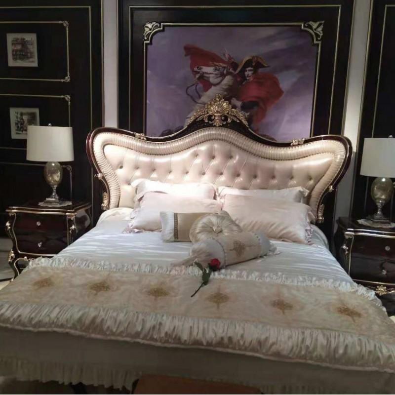 曼斯丹丽欧式家具卧室古典实木雕花大床-7