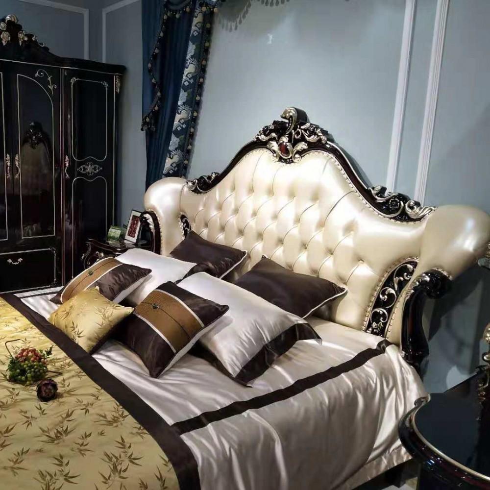 曼斯丹丽欧式家具卧室古典实木雕花大床衣柜-8