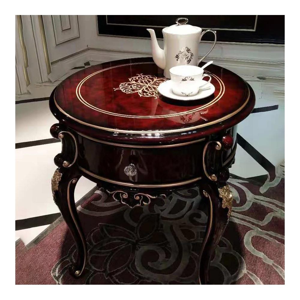 曼斯丹丽欧美实木家具古典雕花圆茶几圆几角几