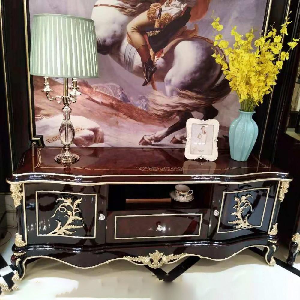 曼斯丹丽欧美实木家具古典雕花客厅电视柜地柜