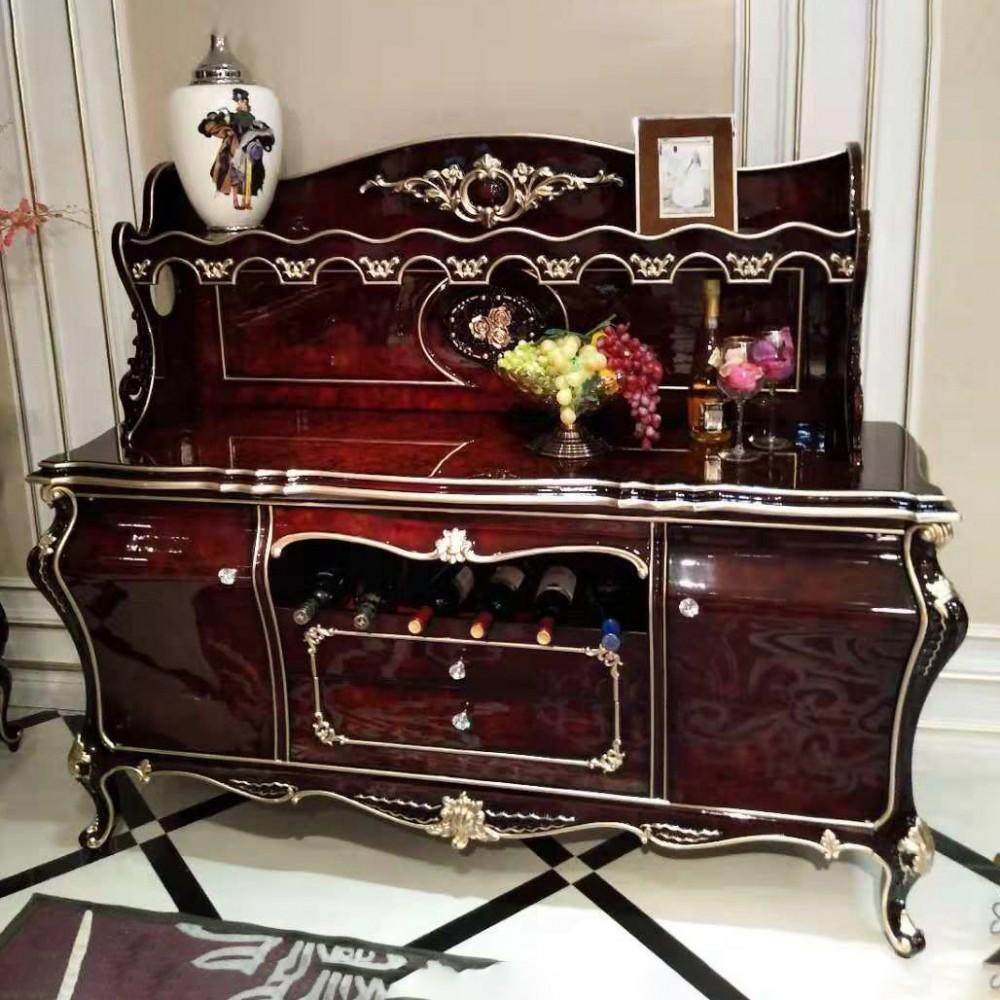 曼斯丹丽欧美实木家具古典雕花餐厅酒柜餐边柜