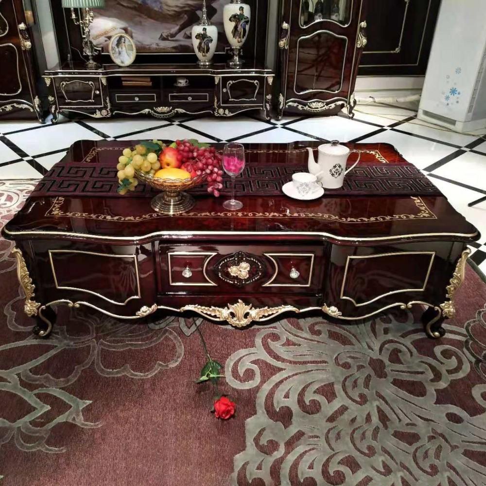 曼斯丹丽欧美实木家具古典雕花客厅茶几