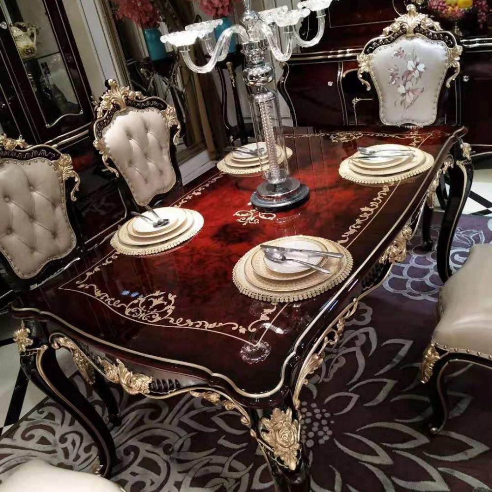 曼斯丹丽欧美实木家具古典雕花餐厅餐桌椅