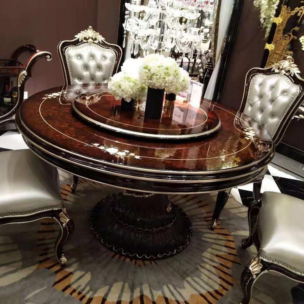 曼斯丹丽欧美实木家具古典雕花餐厅餐桌椅1