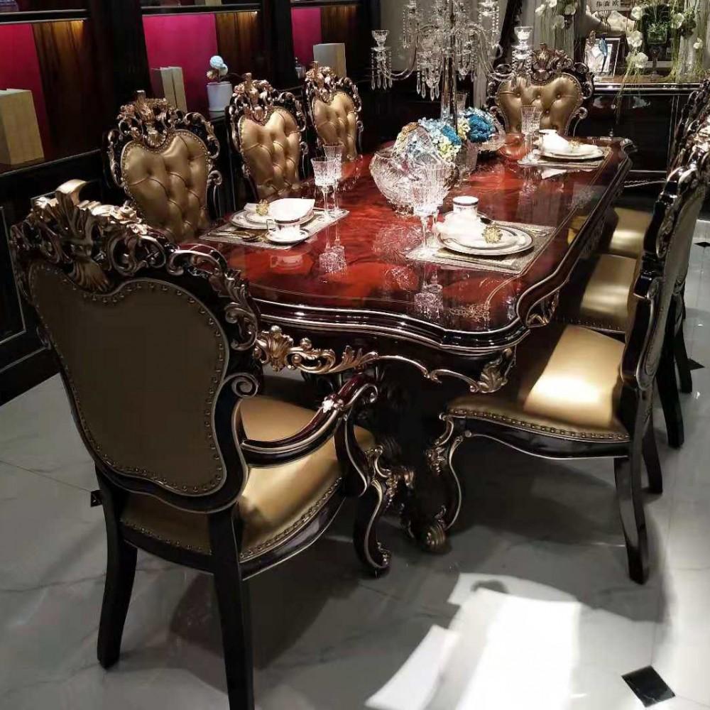 曼斯丹丽欧美实木家具古典雕花餐厅餐桌椅2