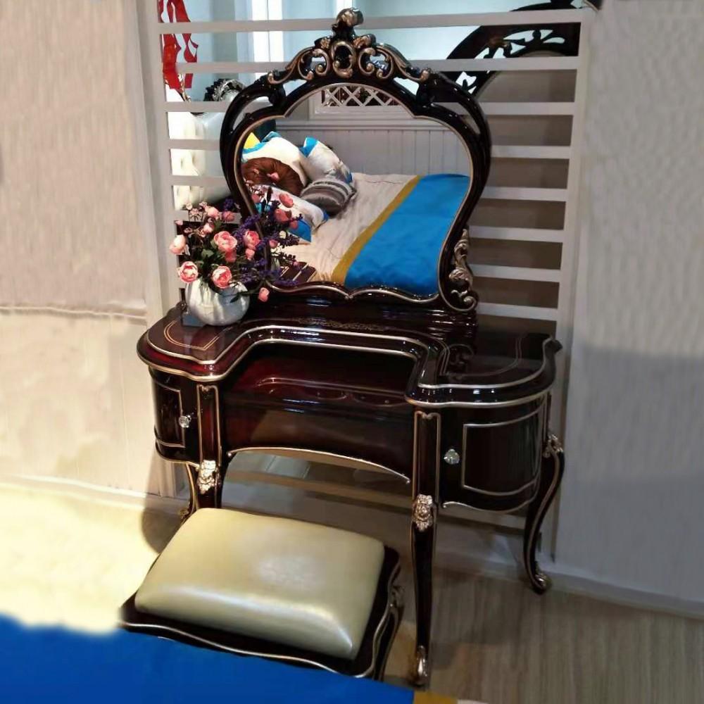 曼斯丹丽欧美实木家具古典雕花卧室梳妆台妆凳