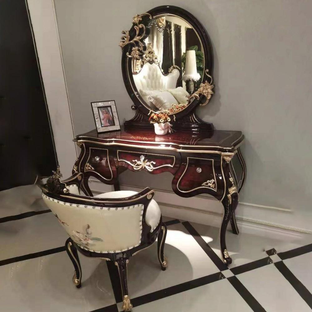 曼斯丹丽欧美实木家具古典雕花卧室梳妆台妆凳1