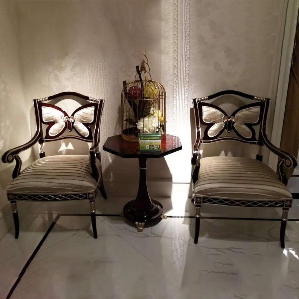 曼斯丹丽欧美实木家具古典雕花客厅休闲椅休闲沙发