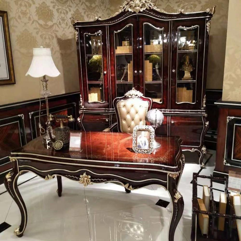 曼斯丹丽欧美实木家具古典雕花书房书桌椅书柜