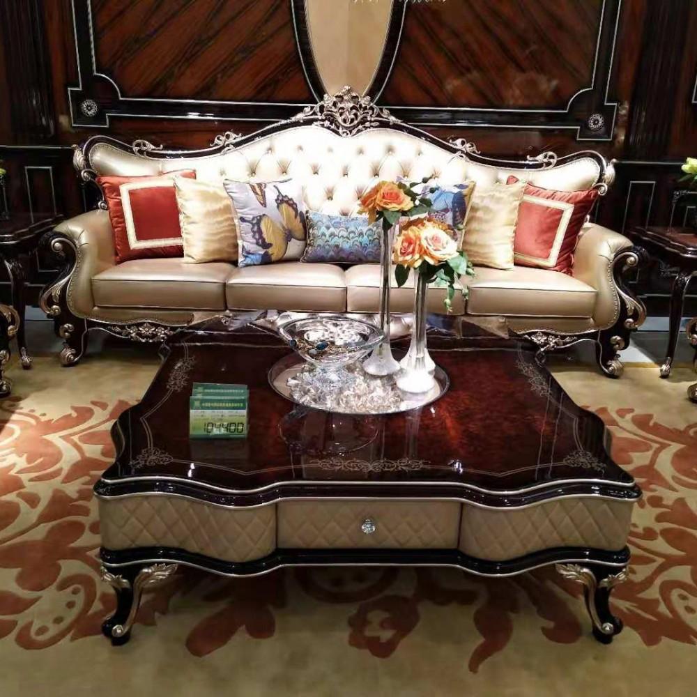 曼斯丹丽欧美实木家具古典雕花客厅沙发茶几套