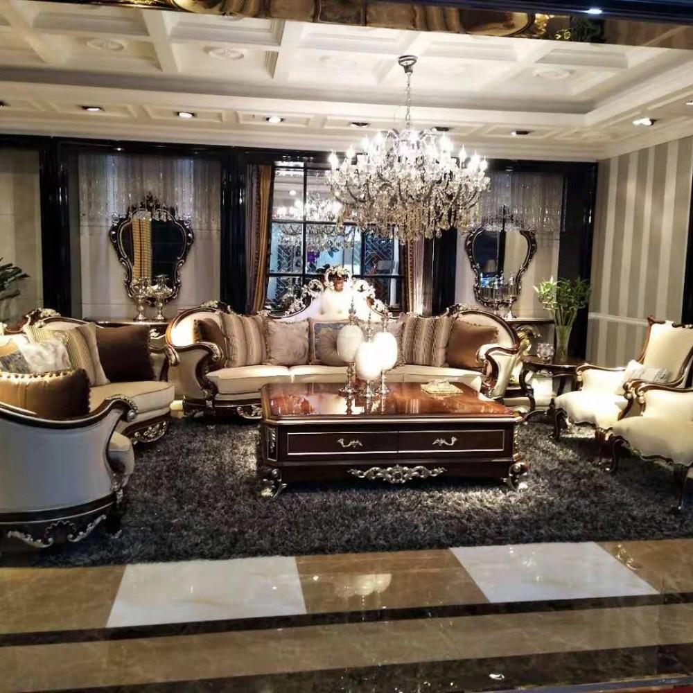 曼斯丹丽欧美实木家具古典雕花客厅沙发茶几套1