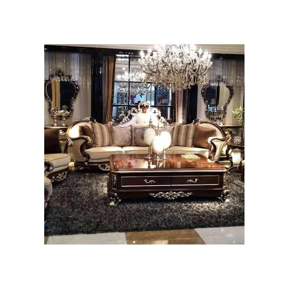 曼斯丹丽欧美实木家具古典雕花客厅沙发茶几套3
