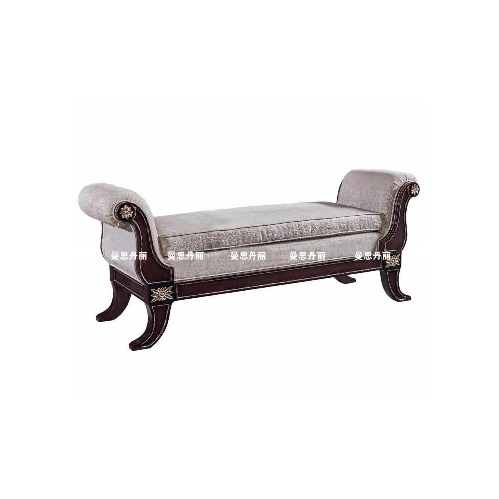 曼斯丹丽欧美实木家具轻奢雕花卧室床尾凳