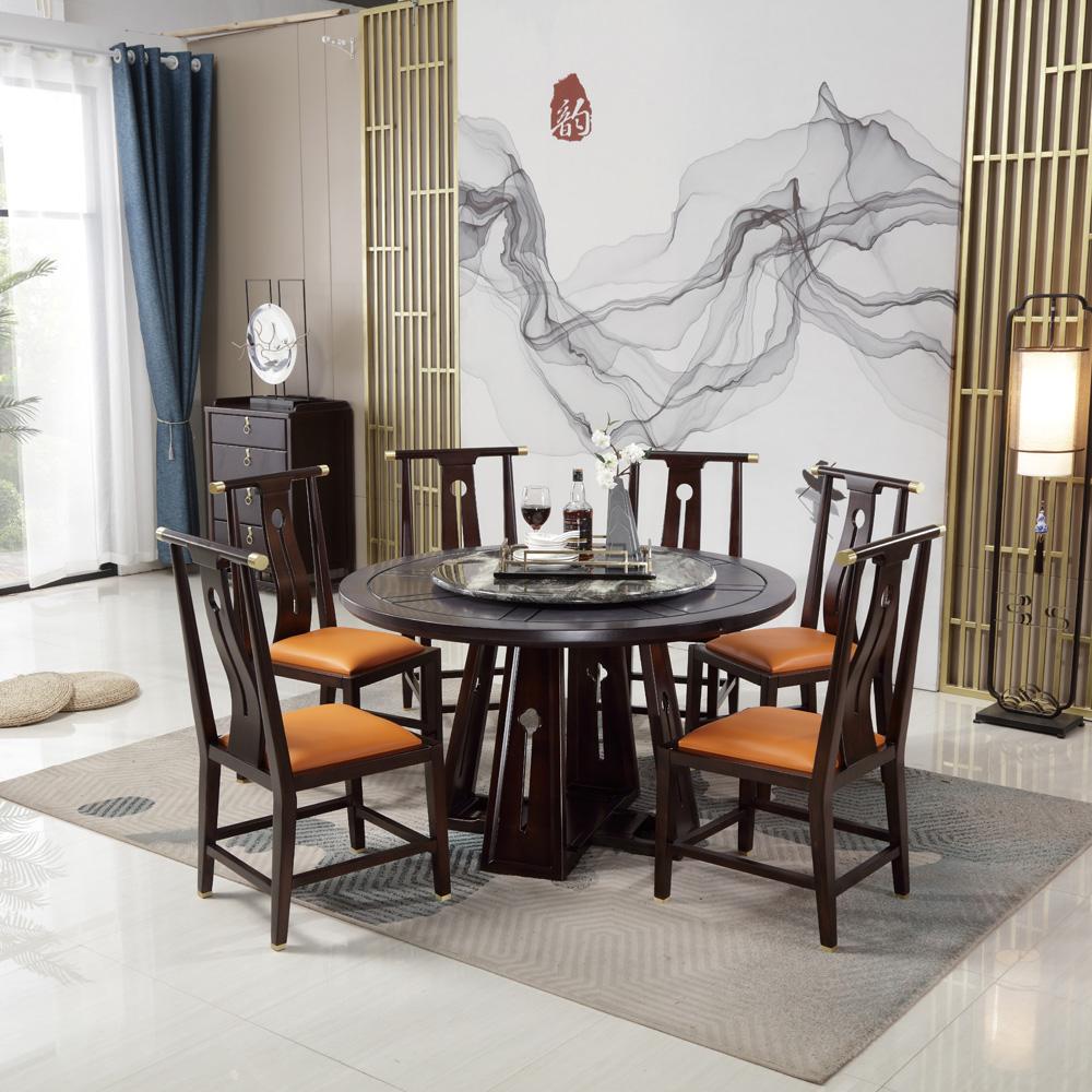 新中式圆餐桌椅禅意餐台0012068