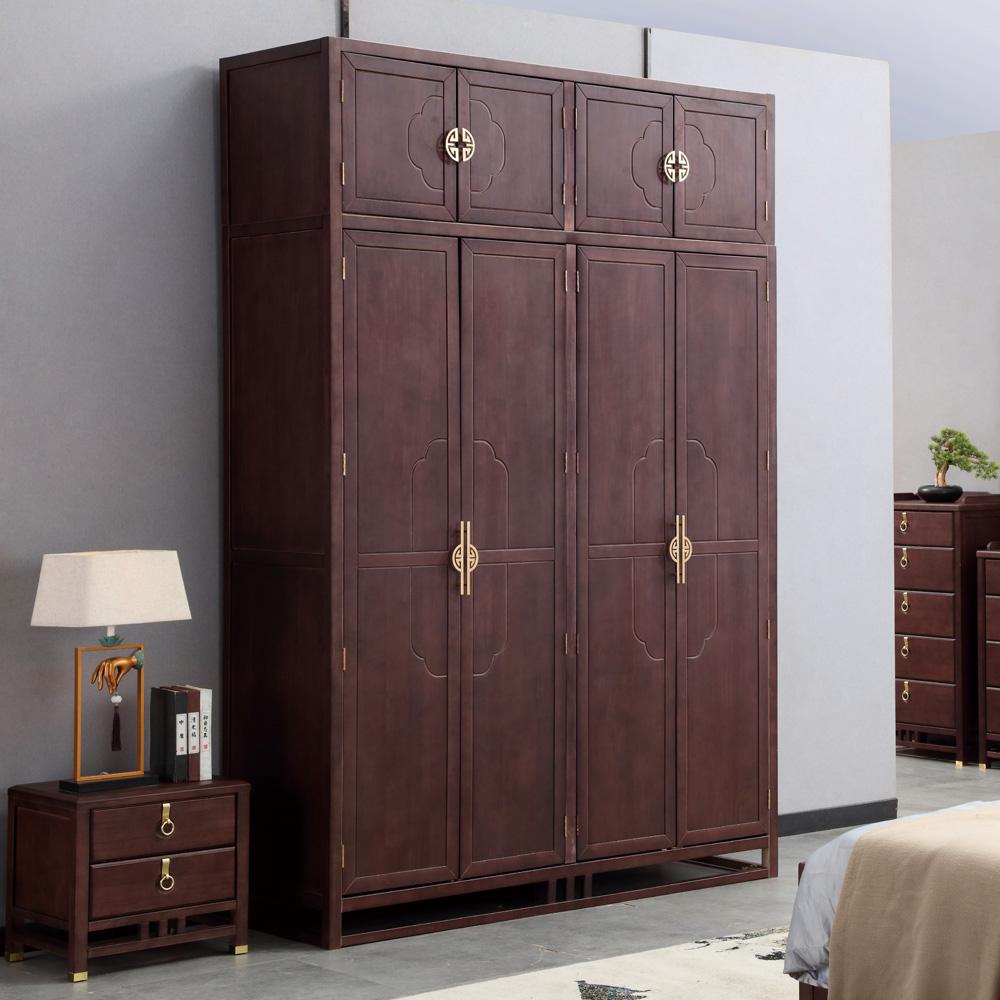 新中式四门衣柜禅意顶箱衣橱AJ5A8571