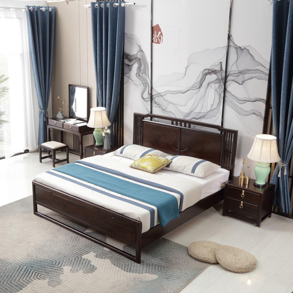 禅意新中式双人床价格0011458
