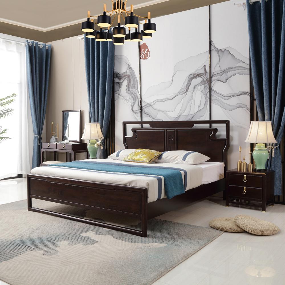 禅意新中式双人床价格0011500