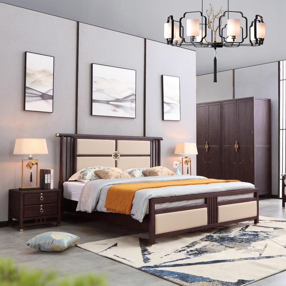 软包双人床现代简约新中式床AJ5A8486