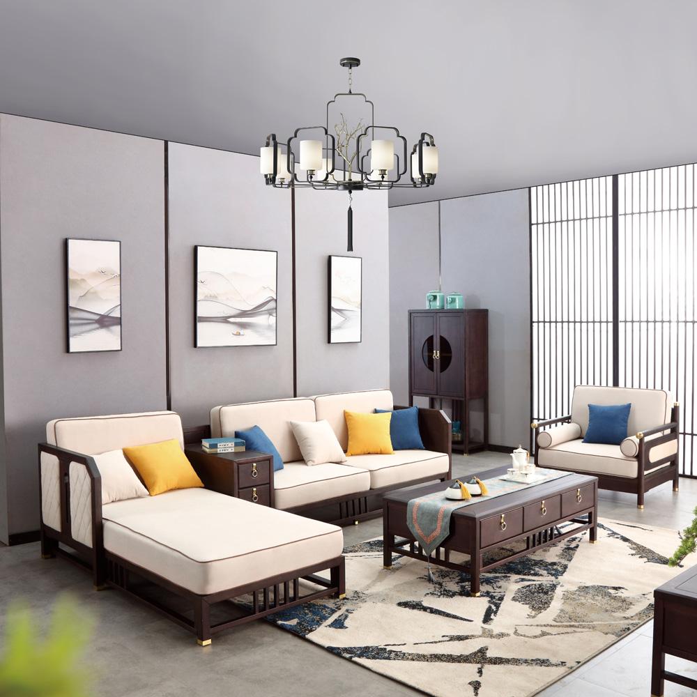 AJ5A4202禅意新中式客厅转角组合沙发