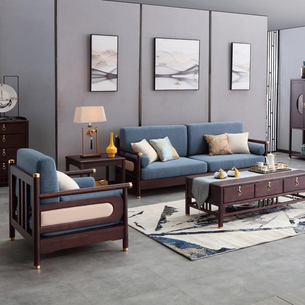 AJ5A8009别墅客厅新中式布艺沙发