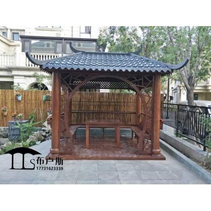 香河碳化木四角中式凉亭实木户外家具庭院设计小桥木屋秋千花箱