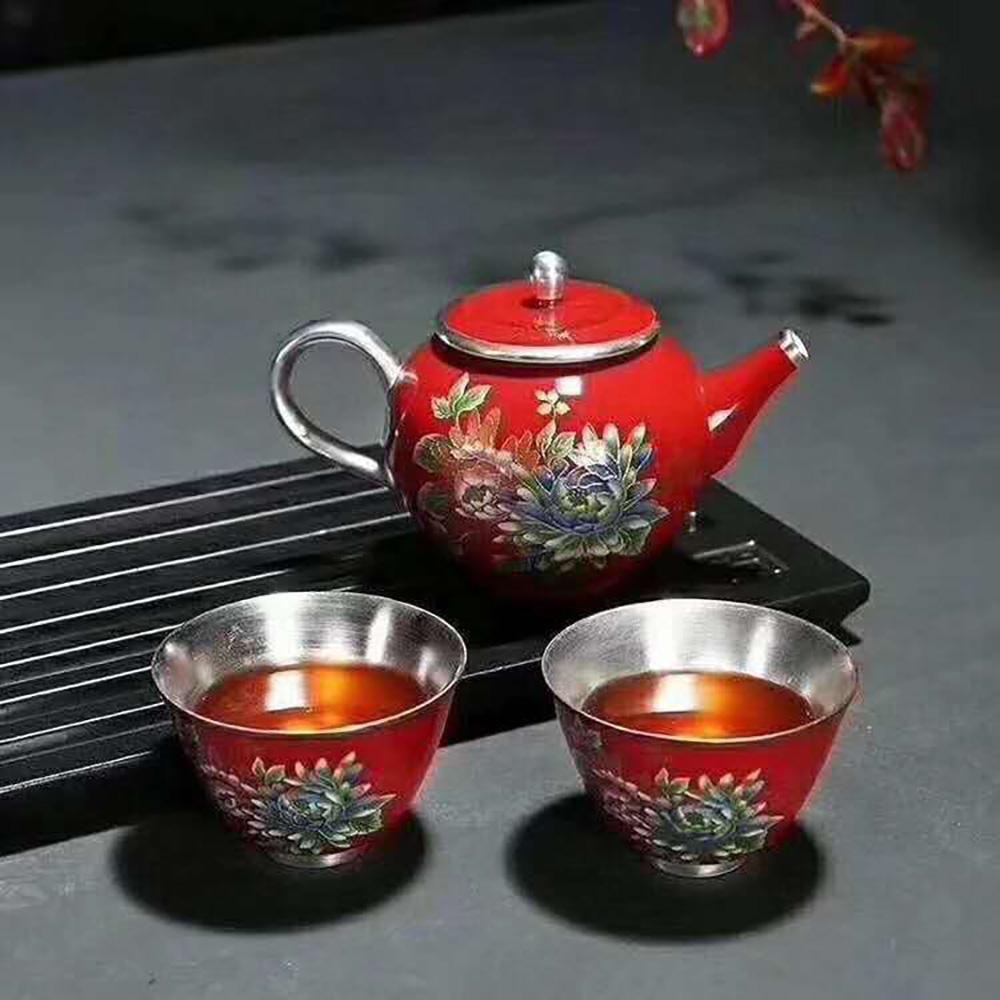 景德镇鎏银茶具套装纯