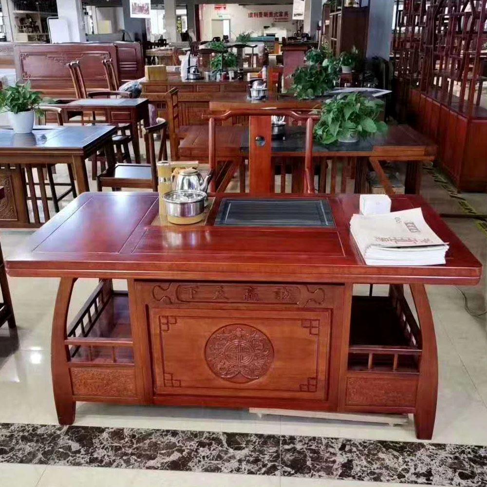 红木茶桌椅组合套装花