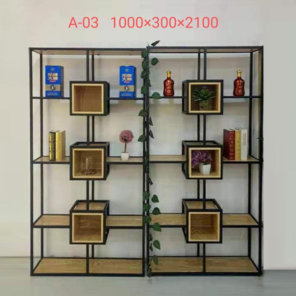 A-03 工业风铁艺隔断置物架书架