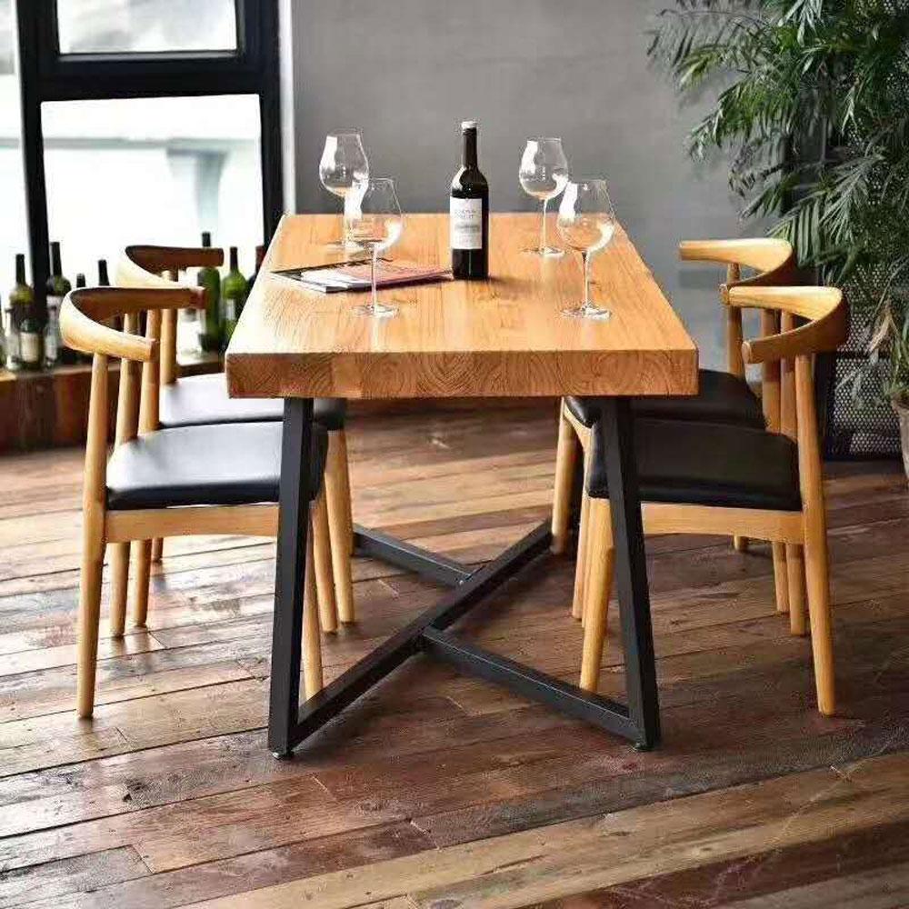 CZY-109  北欧实木铁艺餐桌椅