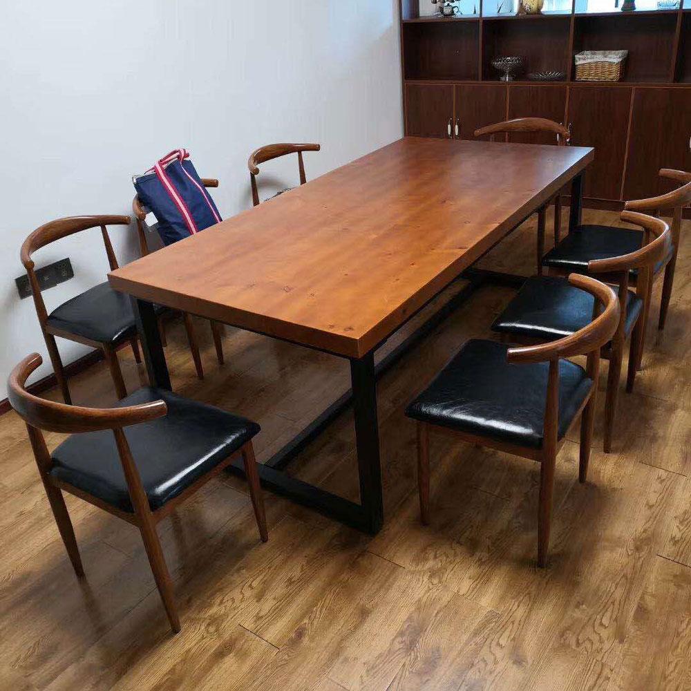CZY-110  北欧实木铁艺餐桌椅