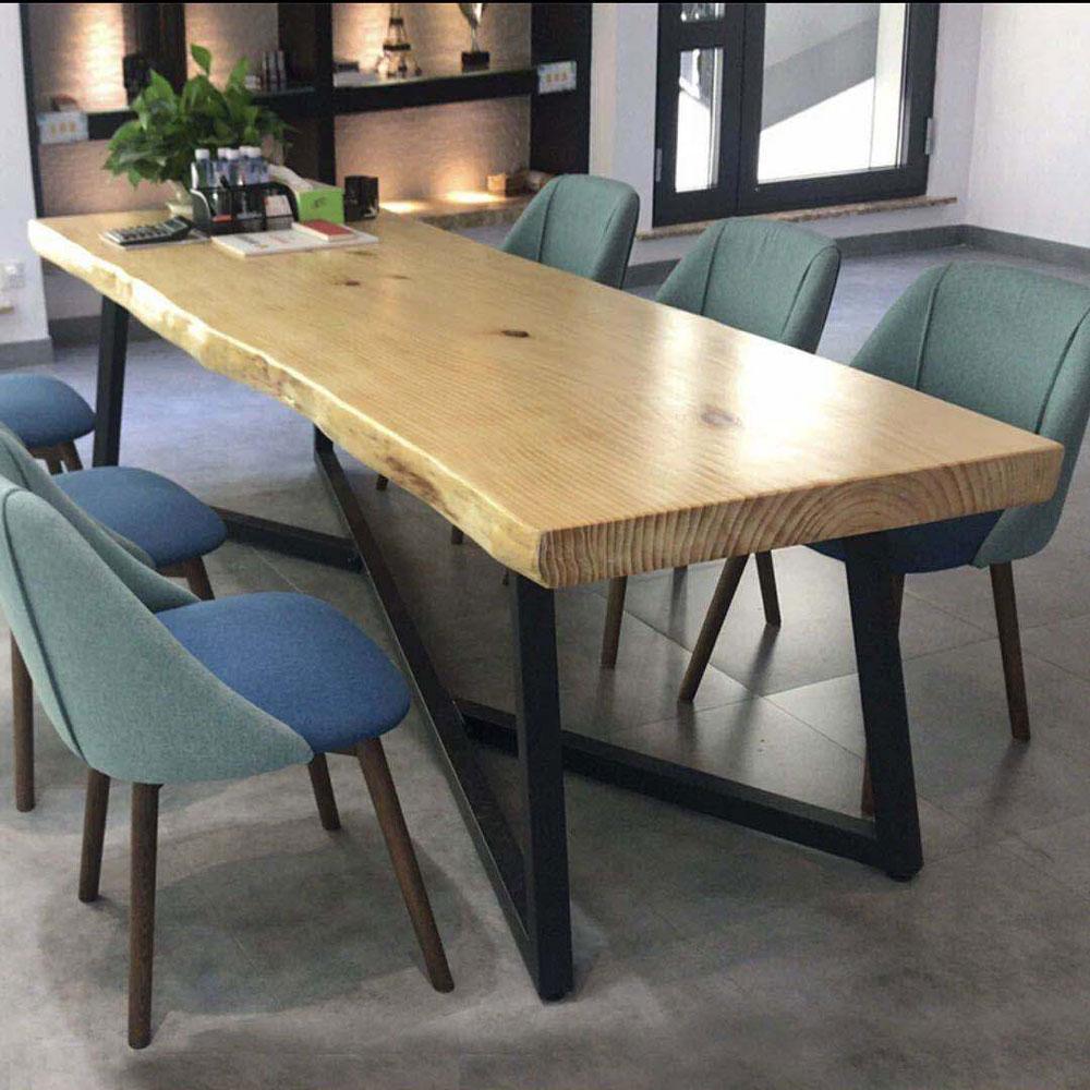CZY-111  极简实木铁艺餐桌椅