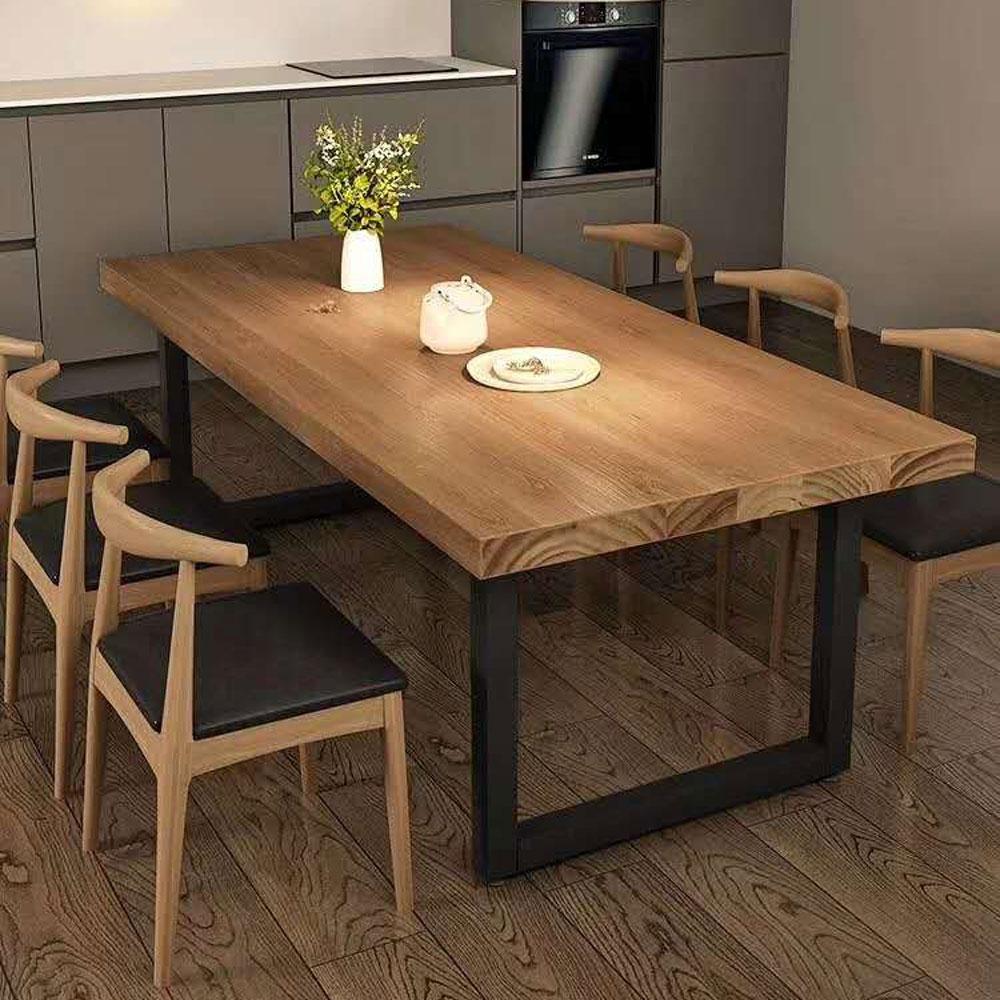 CZY-113  实木铁艺餐桌椅