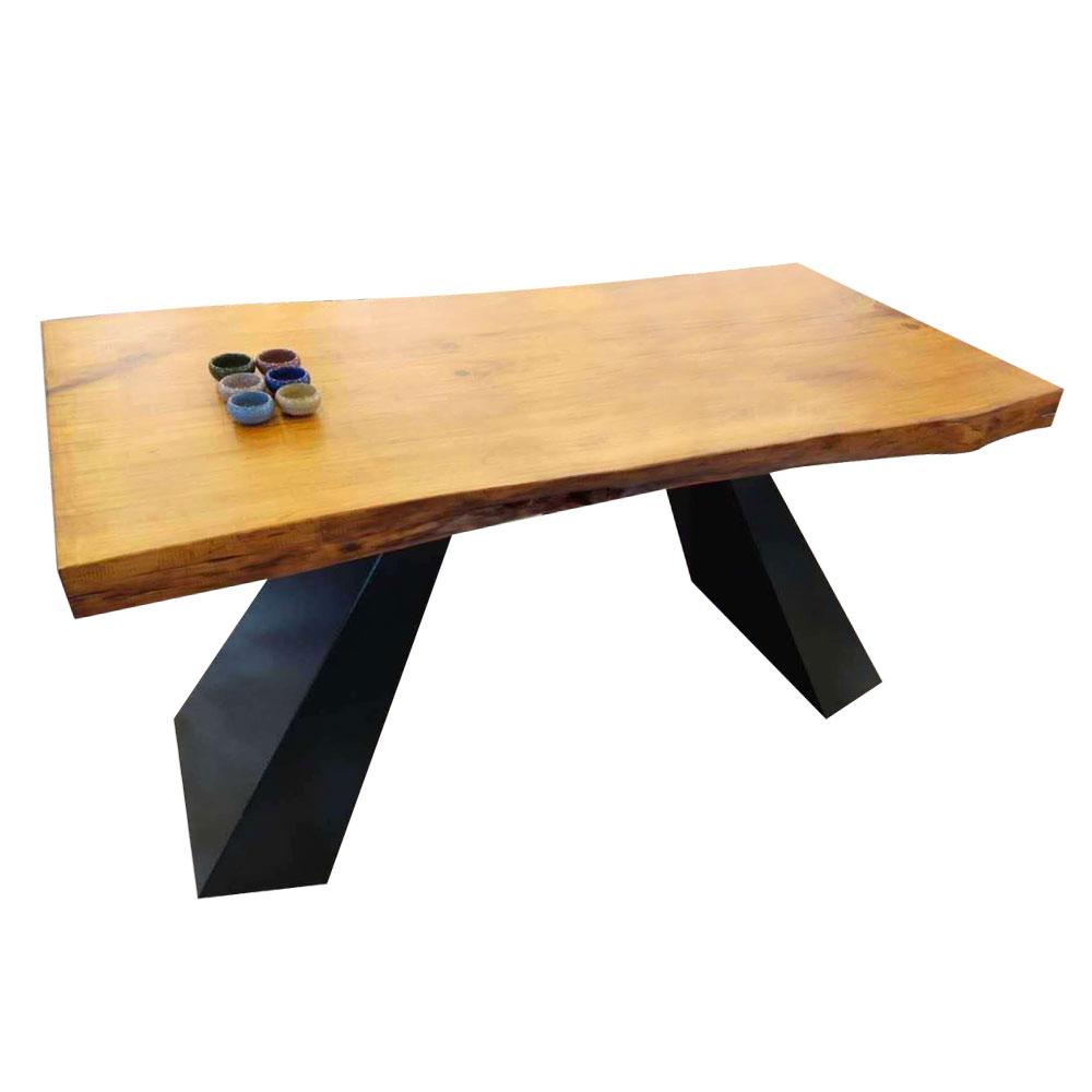 CZY-114  实木铁艺餐桌椅