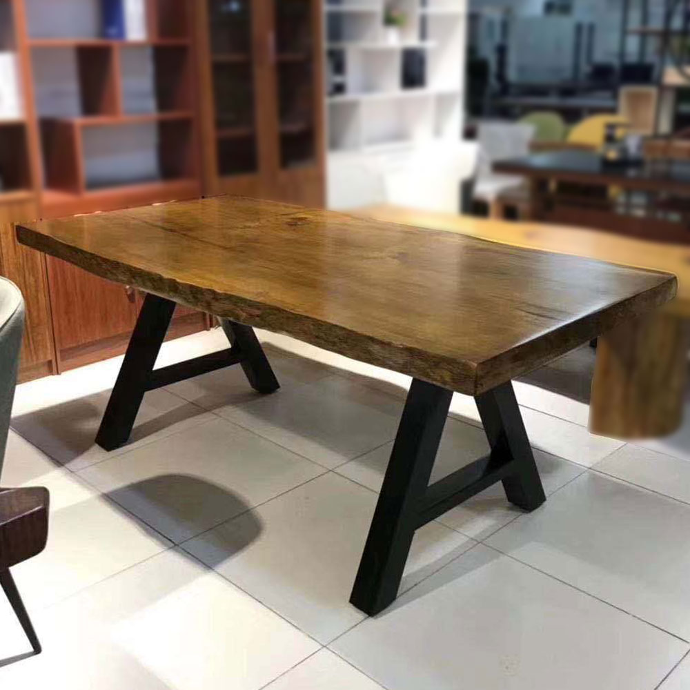 CZY-116  实木铁艺餐桌椅