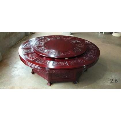香河红木市场红木电动圆台   月星家具城御鼎轩红木